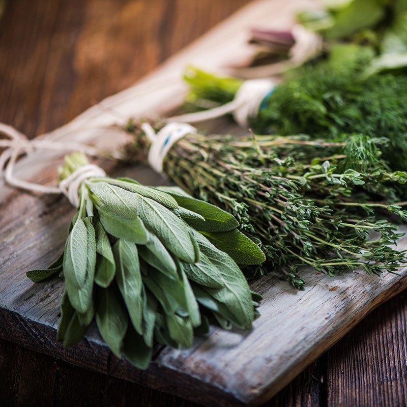 A variety of herbs